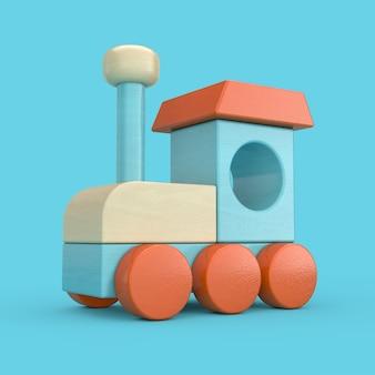 Красочный детский деревянный игрушечный паровоз поезд на синем фоне. 3d рендеринг