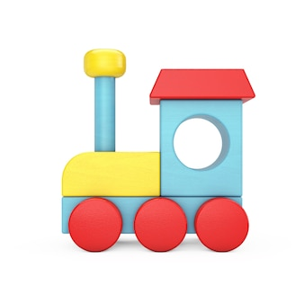 Красочный детский деревянный игрушечный паровоз поезд на белом фоне. 3d рендеринг