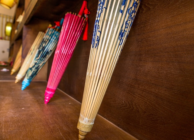 Colorful chinese paper umbrellas