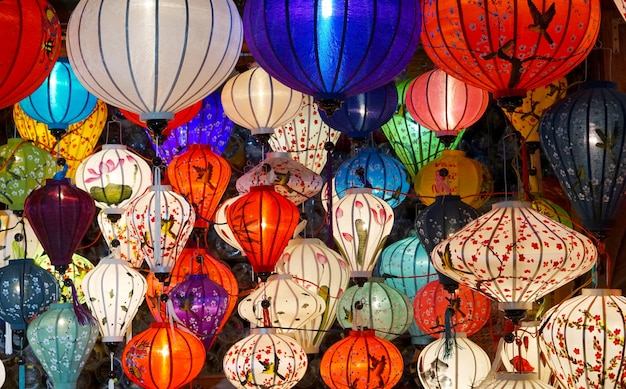 Colorful chinese style lamps hanging from the ceiling in hoi-an