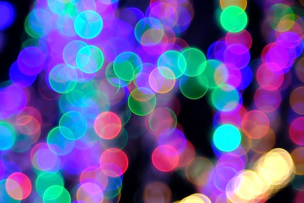 Colorful circle lighting bokeh background Premium Photo