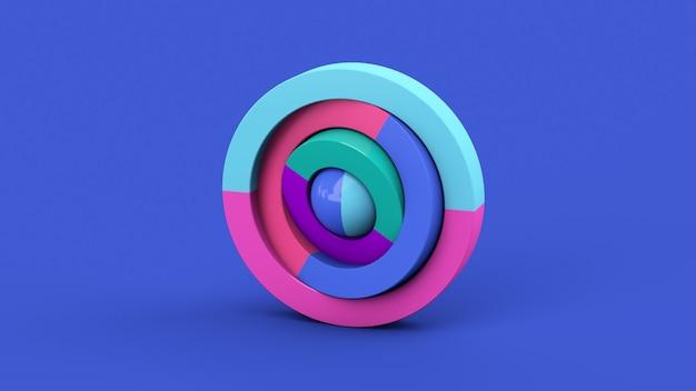 カラフルな円の形とボール。青い背景。抽象的なイラスト、3dレンダリング。