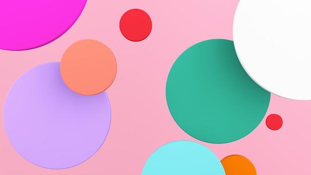 다채로운 원 모양 분홍색 배경