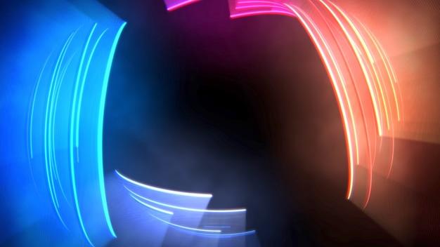 Красочные круги головокружение, абстрактный фон. элегантный и роскошный динамичный неоновый клубный стиль, 3d иллюстрация