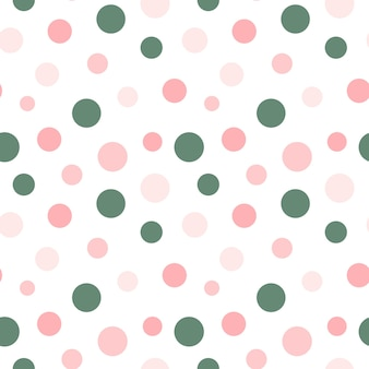 Colorful circles on white background seamless pattern pink and green polka dot repeat print