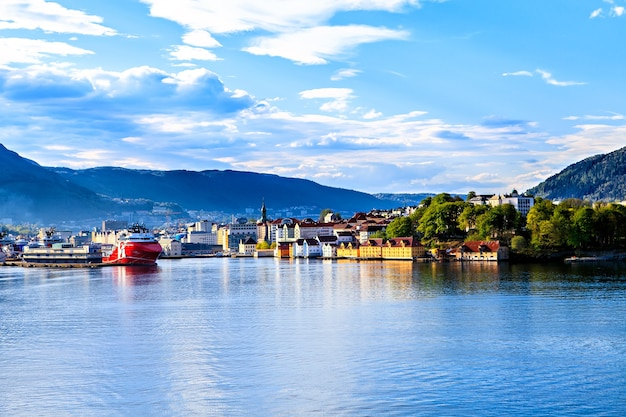 Colorful city of bergen in norway view from water