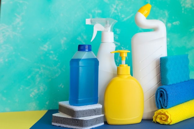Colorful cleaning set for different surfaces in kitchen, bathroom