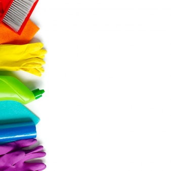 Colorful cleaning set for different surfaces in kitchen