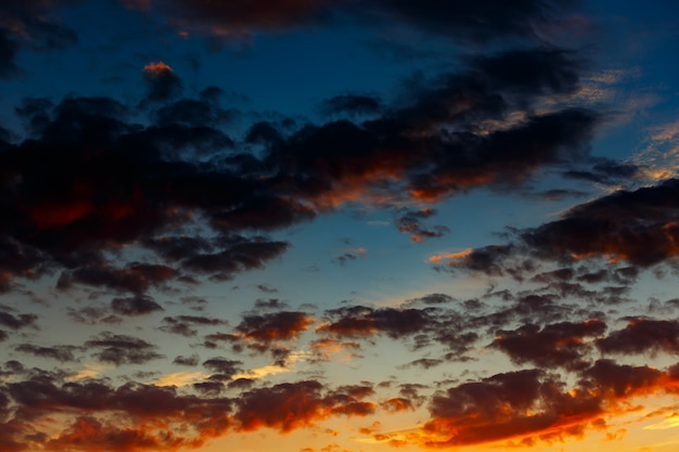 Colorful clouds in the sky after sunset.
