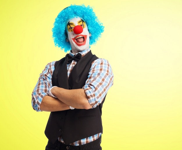 Colorful clown showing the tongue
