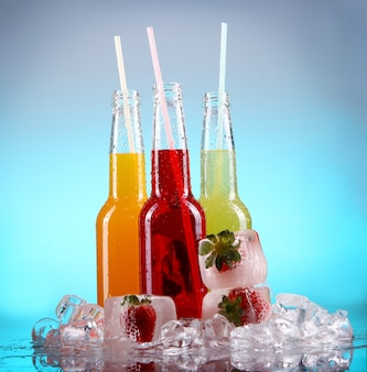 Colorful cocktails with ice