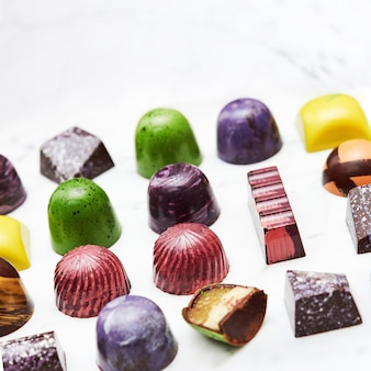 Colorful collection of chocolate candies