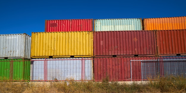 Colorful containers storage shipping