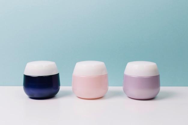 Colorful cosmetics jars