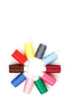 Colorful cotton craft sewing threads in flower shape