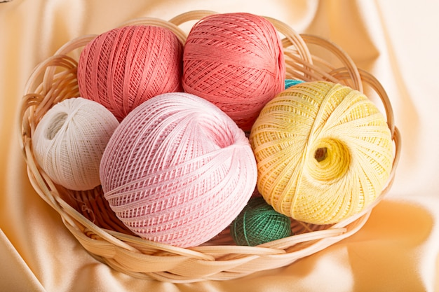 Colorful cotton yarn in the basket