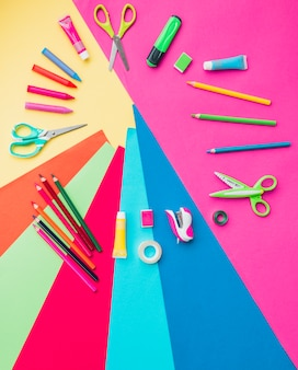 Colorful craft accessories arranged in circular shape