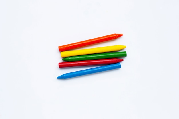 Colorful crayon on white
