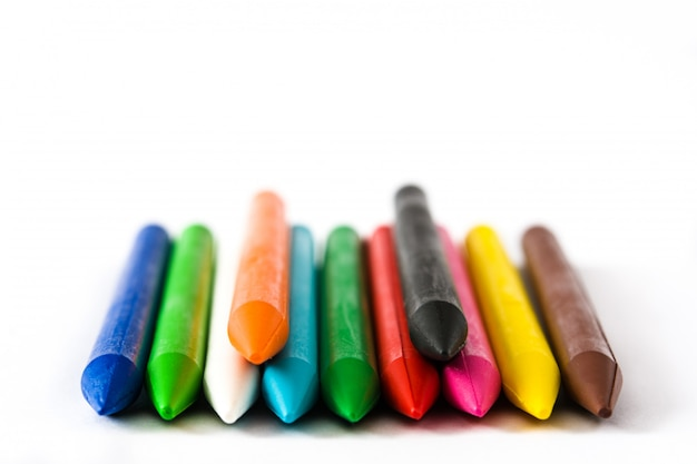 Colorful crayons isolated on white