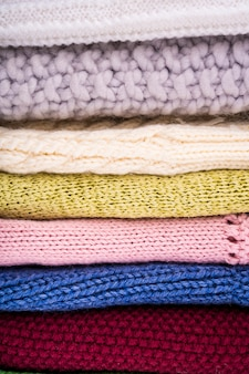 Colorful crocheted wool clothes