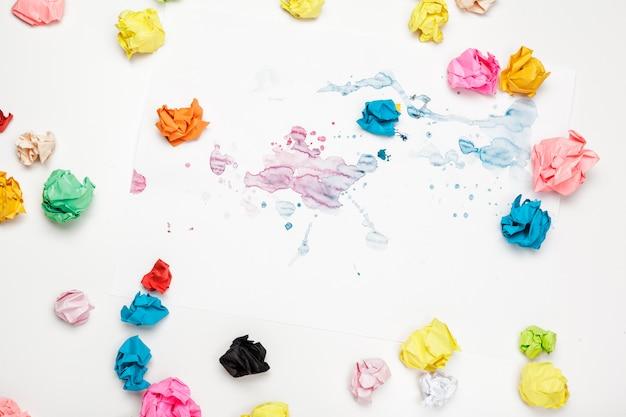 Colorful crumpled paper balls
