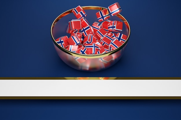 Красочные кубики с изображением флага норвегии в большой тарелке