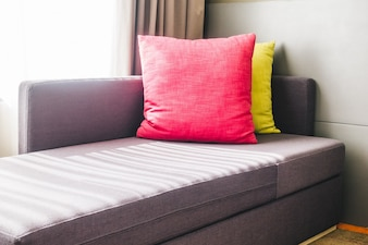 Colorful cushions on the couch