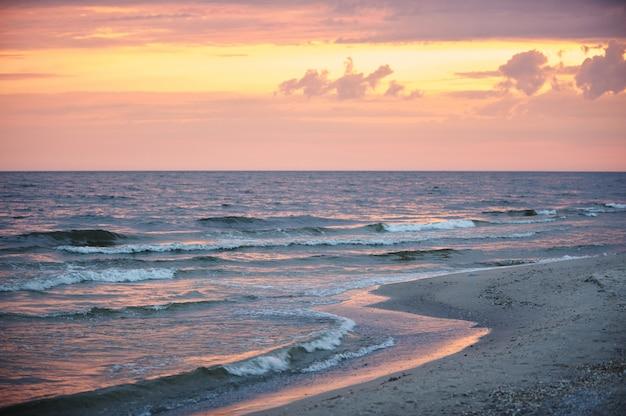 Colorful dawn over the sea.
