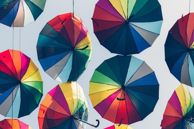 Colorful decorative umbrellas against the sky