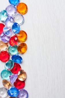 Colorful diamonds decoration decoration design object light background
