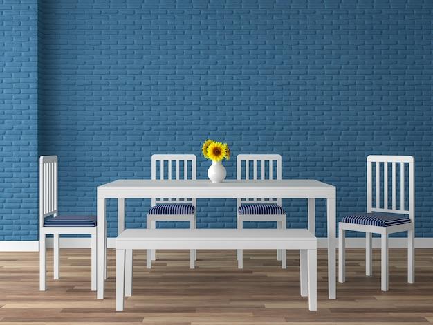 남색 벽돌 벽 3d 렌더가 있는 다채로운 식당