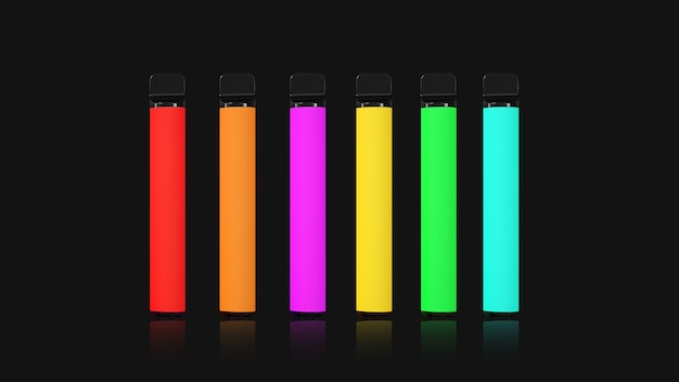Красочные одноразовые электронные сигареты с тенями на черном фоне. концепция современного курения, вейпинга и никотина