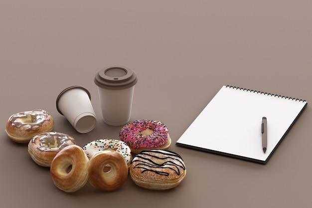 파스텔 갈색 배경으로 다채로운 도넛과 커피 컵. 3d 렌더링