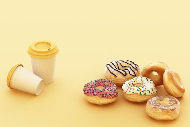파스텔 노란색 배경으로 다채로운 도넛과 커피 컵. 3d 렌더링