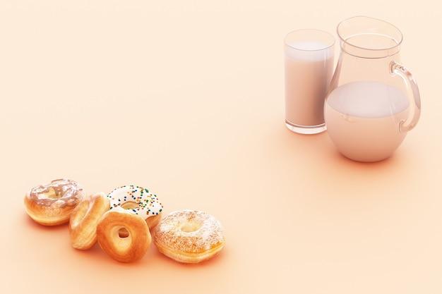 パステルカラーの背景を持つカラフルなドーナツとミルクカップ。 3dレンダリング