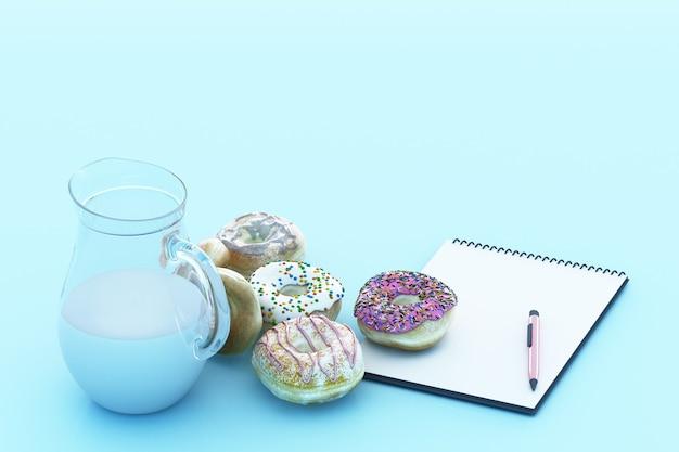 パステルブルーの背景を持つカラフルなドーナツとミルクカップ。 3dレンダリング
