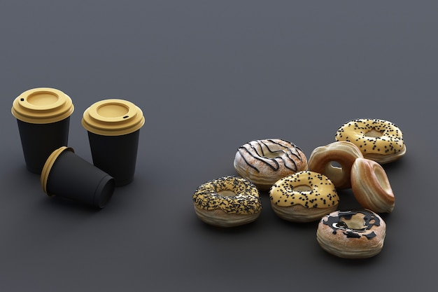 Colorful donut and coffee cup with black background. 3d rendering