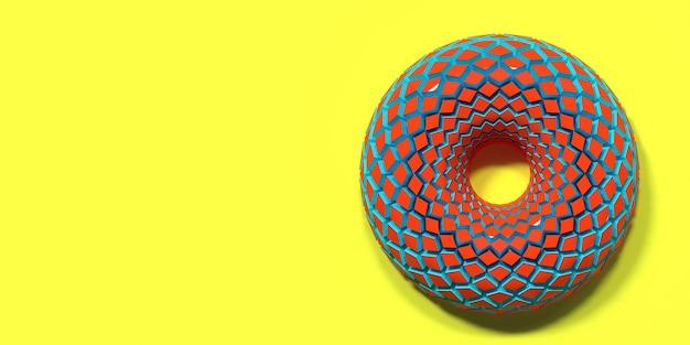 黄色の背景にカラフルなドーナツポップアートイラスト3dレンダリング