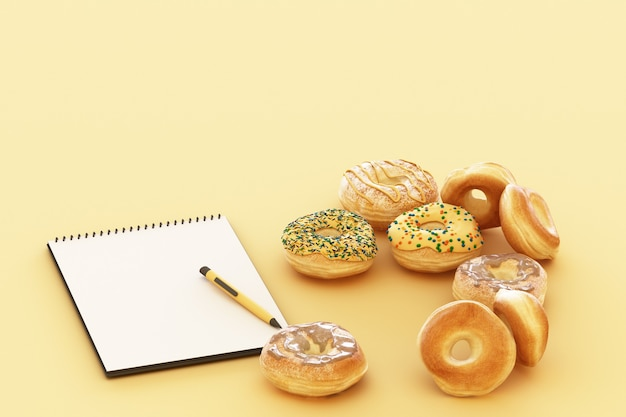Colorful donut with pastel yellow background. 3d rendering
