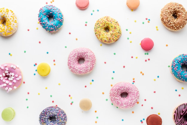 Colorful donuts and sprinkles