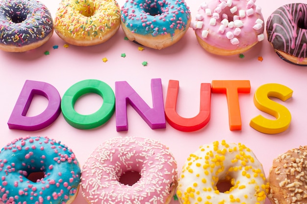 Colorful donuts with letters