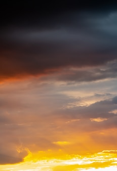 Colorful dramatic sky in evening
