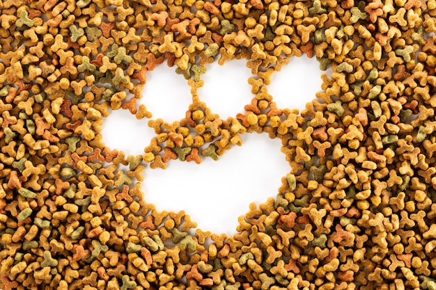 Colorful dried dog food and dog or cat paw print. grain animal feed banner background with copy space for text design.