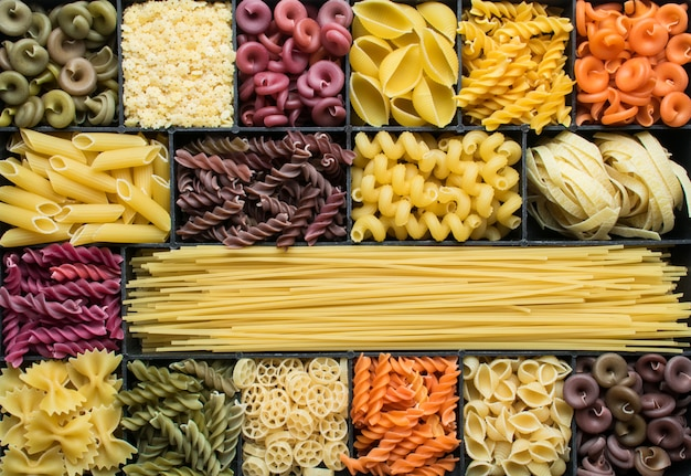 Colorful dry pasta surface