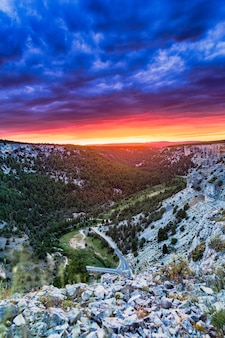Colorful dusk in soria spain landscape from rio lobos canon