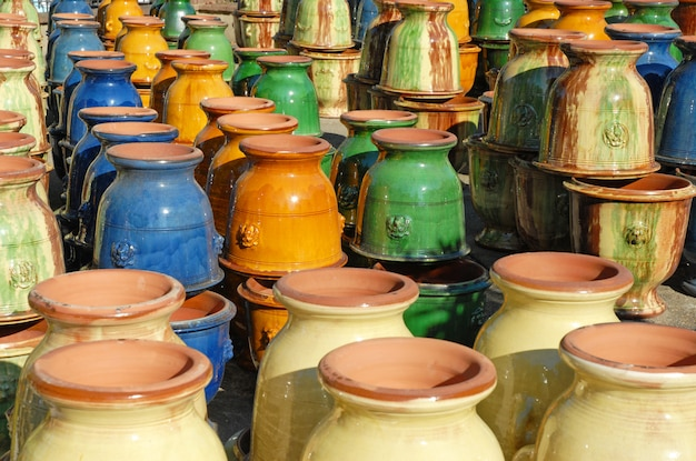 Colorful earthenware vases