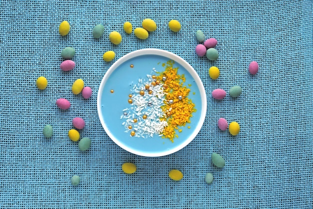 Colorful easter breakfast bowl. easter mood. easter sweets.