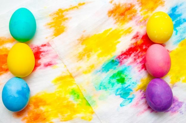 Colorful easter egg double border against on multicolor background. frame, copyspace.