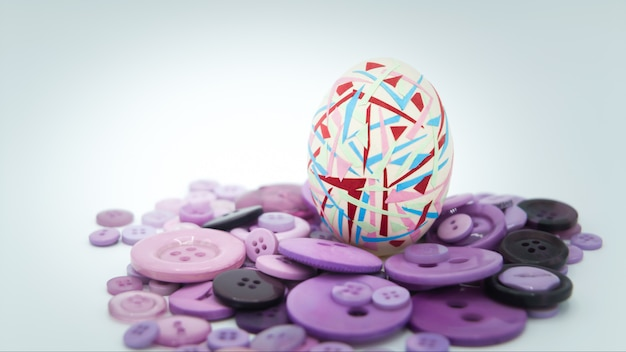 Colorful easter egg standing on the purple button, easter concept background