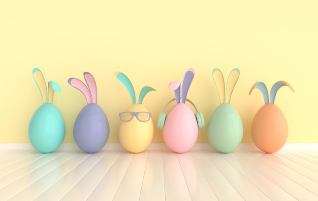 Colorful easter egg with rabbit ears. happy easter big hunt or sale banner